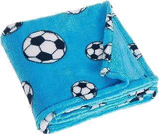 Playshoes Baby und Kinder Fleece-Decke Fußball, vielseitig nutzbare Kuscheldecke für Jungen und Mädchen, 75 x 100 cm