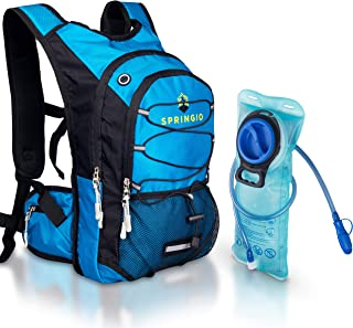 Springio Insulated Hydration Backpack - Waterproof Hiking, Cycling, Running, Climbing, Kayaking, Camping Gear - Compact 2 Liter BPA-Free Water Bladder Cooler with Large Storage Compartment - Blue