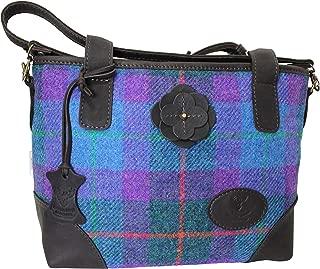 Wild Scottish Deerskin Designer Leather Purple and Blue Tartan Check Harris Tweed Large Hannah Bag