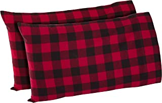 Stone & Beam Rustic Buffalo Check Flannel Pillowcase Set, Standard, Red and Black