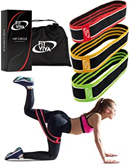 Fabric Resistance Bands Set - Booty Hip Bands for Legs, Shoulders and Arms Exercises - Perfect for Fitness, Glute or Squat Workout - 3 Non-Rolling Circle Bands for Women and Men
