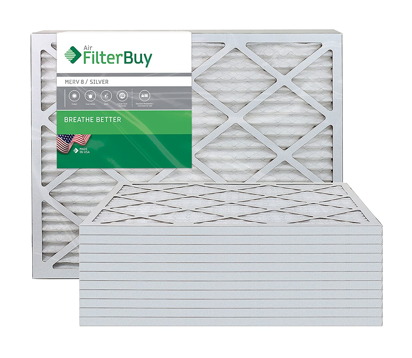 FilterBuy 20x23x1 MERV 8 Pleated AC Furnace Air Filter, (Pack of 12 Filters), 20x23x1 – Silver