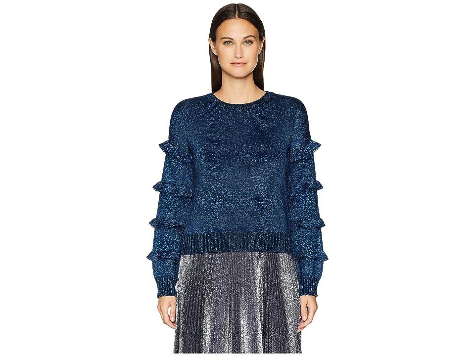 RED VALENTINO Vanise Wool Lurex Yarn Sweater (Blue) Women