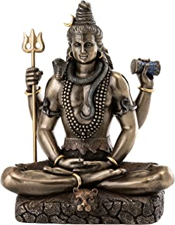 Top Collection Shiva Statue in Padmasana Lotus Pose-Hindu God of Destroying Evil, Ignorance, and Death Sculpture - Collectible Figurine (Cold Cast Bronze)