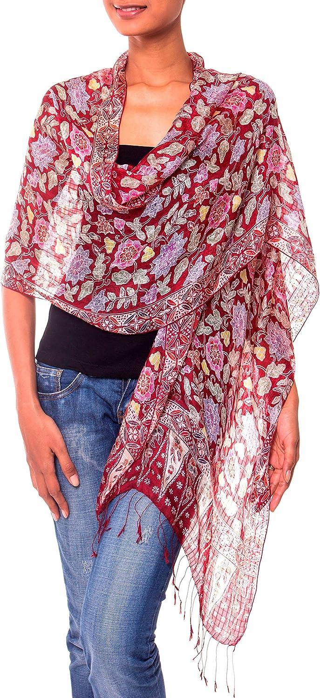 NOVICA 100% Silk Batik Shawl Wrap with Red Floral Print, Wine Garden' (long)