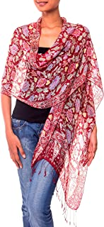 NOVICA 100% Silk Batik Shawl Wrap with Red Floral Print, Wine Garden' (long)