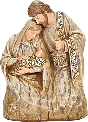 """Roman Joseph's Studio Holy Family Bust, 7.25"""" H, Wood Carved Finish, Christmas Collection, Polyresin, Nativities, Christmas Giftware, Inspirational, Durable, Long Lasting"""
