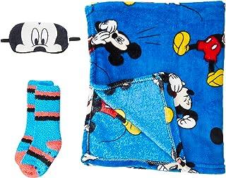 Set Regalo Manta Mickey Calentadores, Azul (Azul 38), One Size (Tamaño del fabricante:única) para Niños