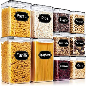 Airtight Food Storage Containers - Blingco Large Cereal & Dry Food Storage Containers 10 PCS, Kitchen & Pantry Organization Canisters with Lids - BPA Free for Flour, Sugar, Baking Supplies - Black
