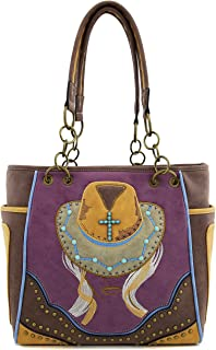 Angie&Allie Women Western Vintage Cowgirl Handbags Purses PU Leather Tote Shoulder Bag Rhinestore Studded 17590 (Brown)