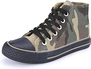 VECJUNIA Boys Girls Camouflage Lace-Up Canvas Shoes High Top(Toddler/Little Kid/Big Kid)