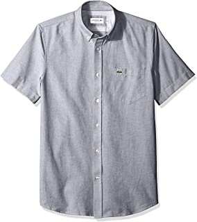 Lacoste Men's Short Sleeve Oxford Button Down Collar Regular Fit Woven Shirt