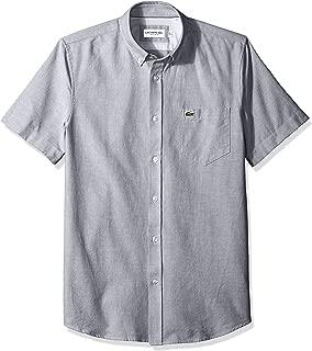 Mens Short Sleeve Oxford Button Down Collar Regular Fit Woven Button Down Shirt