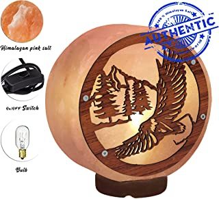 Pink Himalayan Unique Salt Lamp - Wood Base with On and Off Switch/Dimmer - 5-7 Lbs - Bulb with 6-8 Inches UL Electric Corded (Eagle Lamp)