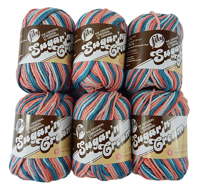 Bulk Buy: Lily Sugar'n Cream Yarn 100% Cotton Solids and Ombres (6-Pack) Medium #4 Worsted (Coral Seas Ombre)