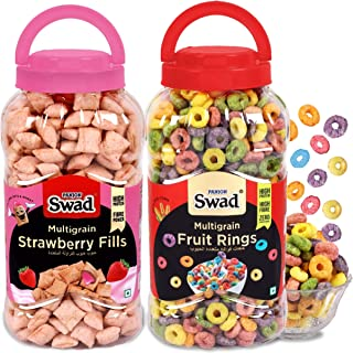 Swad Strawberry Fills & Fruit Rings, Combo of 2 Jars (Zero Cholesterol, High Fibre Crunchy Fruit Loops Cereal) Jar, 650 g