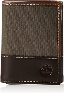 Timberland mens D28221 Canvas & Leather Trifold Wallet Wallet
