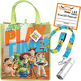 Toy Story Reusable Halloween Trick or Treat Loot Bag & Lanyard with Attached LED Safety Flashlight! !! Plus