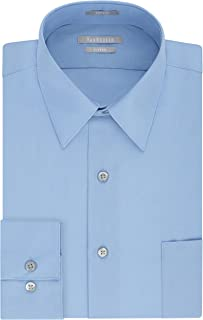 Van Heusen Men's Poplin Fitted Solid Point Collar Dress Shirt