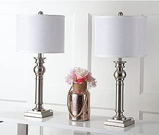 Safavieh Lighting Collection Argos Column Nickel 28.25-inch Table Lamp (Set of 2)