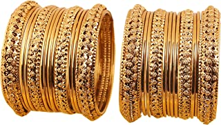 Touchstone New Golden Bangle Collection Indian Bollywood Kundan Look Yellow Rhinestone Golden Beads Metal Bangle Bracelets Designer Jewelry. Set of 18 in Antique Gold Tone for Women.