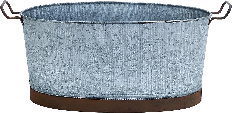 Benzara Metal Galvanized Oval Tub with Crepe Design and Metallic Handles