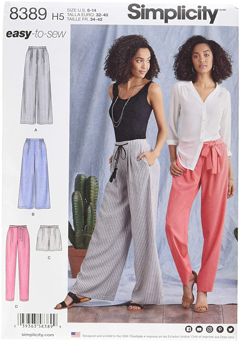 Simplicity Creative Patterns US8389H5 Misses' Pants with Length & Width Variations & Tie Belt Pattern, H5 (6-8-10-12-14)