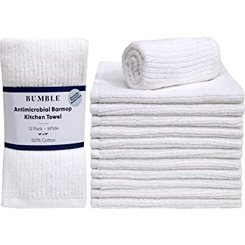 "Bumble 12-Pack Antimicrobial Barmop Kitchen Towels / 16"" x 19"" Premium Kitchen Towels/Super Absorbent Heavy Weight Cotton/Ribbed Weave (White)"
