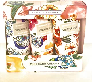 Heathcote & Ivory Vintage & Co Patterns & Petals Mini Hand Creams Set 3 x 1.01 Fl Oz