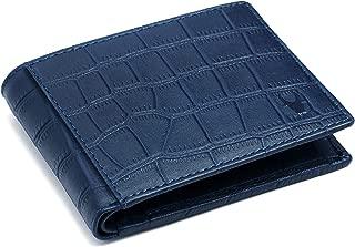 WildHorn® 100% Genuine High Quality Mens Leather Wallet (Blue Croco)