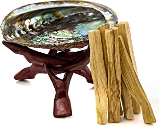 Alternative Imagination Premium Abalone Shell with Stained Wooden Tripod Stand and 6 Palo Santo Sticks Brand