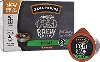 JAVA HOUSE Cold Brew Coffee, DECAF Medium Roast, Enjoy Hot or Iced, K Cup Coffee Concentrate Liquid Pods (6 Count)