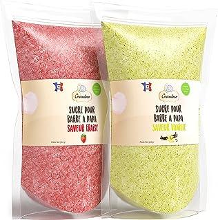 Greendoso-Sucre Barbe à Papa Fraise et Vanille 2X500Gr = 1Kg (Arômes et Colorants Naturels), pour Machine. Fabriqué en France