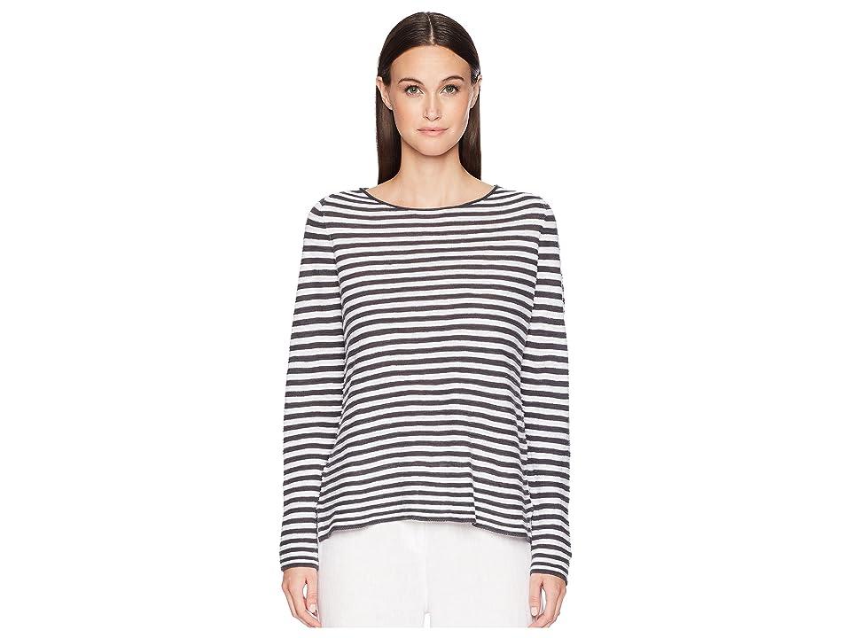 Eileen Fisher Organic Linen Cotton Stripe Top (Graphite/White) Women