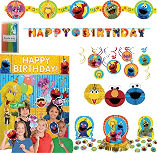 Bundle Bop Sesame Street Party Decorations Includes - Sesame Street Birthday Banner, Backdrop with Photo Props, Honeycomb Decorations, Table Decorating Kit, Garland and Hanging Swirl Decorations