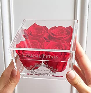 100% Real Roses That Last A Year - A Perfect Gift - White Gold Quartet (Red)
