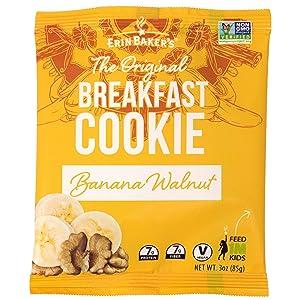 Erin Baker's Breakfast Cookies, Banana Walnut, Whole Grain, Vegan, Non-GMO, 3-ounce (Pack of 12)