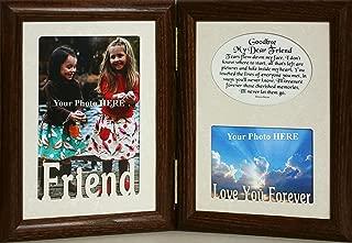 5x7 FRIEND & GOODBYE MY DEAR FRIEND Poem ~ HINGED Double Memorial/Bereavement/Condolence/Sympathy/Tribute/Funeral Keepsake Picture Photo Frame (WALNUT)