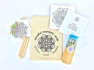 Mindful Mandala Cards with Pencils Set: On-The-go Mindfulness Coloring kit with 24 Mandala Coloring Cards paired with Quot...