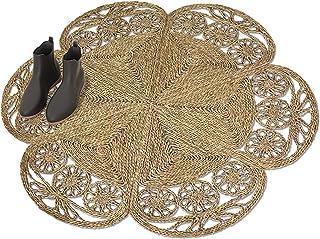 Made Terra Flower Shaped Woven Area Rug for Living Room Bedroom Floor Mat Braided Anti-Slip Foldable Natural Fiber Seagras...