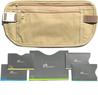 RFID Money Belt For Travel With RFID Blocking Sleeves Set For Daily Use (Beige)