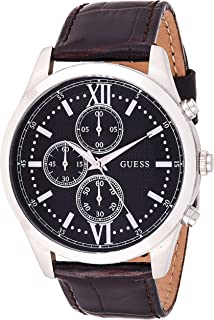 Guess Mens Quartz Watch, Analog Display and Leather Strap W0876G1