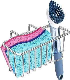 2-in-1 Kitchen Sink Caddy Sponge Holder + Dish Brush Holder, Sink Sponge Organizer Basket Rack, SUS304 Stainless Steel - S...
