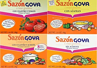 Sazon Goya Unique Seasoning Variety 4-Pack Bundle, Culantro Y Achiote (with Coriander & Annatto),Con Azafran, Coriander and Annatto, Sazon Without Annatto and Cilantro Y Tomate(Cilantro & Tomato)