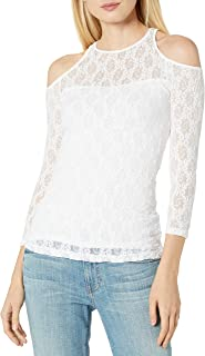 Only Hearts Women's Stretch Lace Cold Shoulder Top