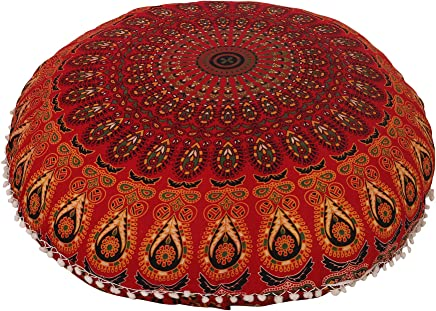 featured product Anokhiart 32 Cotton Round Floor Pillow Cover Red Indian Mandala Pillow Cover Cushion Cover Ottoman Pouf Cover