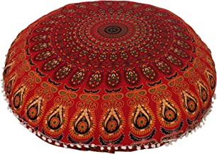 "32"" Cotton Round Floor Pillow Cover Red Indian Mandala Pillow Cover Cushion Cover Ottoman Pouf Cover"