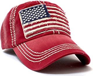 Vintage Red Oversized American Flag Patch Embroidery Baseball Cap