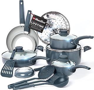 Mueller Pots and Pans Set Non-Stick, 16-Piece Healthy Stone Cookware Set Butter Warmer, Aluminum Body, Deep Fry, Fry Pan, ...