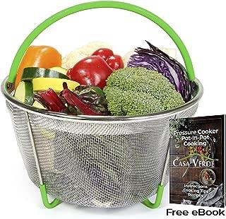 Casa Verde Steamer Basket Accessory, Egg, Vegetable Steamer Insert Fits 6 & 8 Qt Instant Pot Pressure Cooker, Stainless Steel Strainer/Colander, Silicone Covered Handle and Non-slip Legs